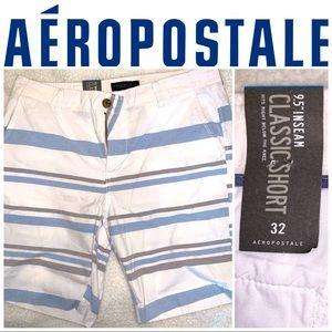 "Size 32"" Aeropostale Blue-White Striped Shorts"